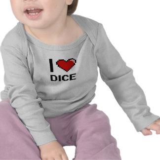 I Love Dice Digital Retro Design Tee Shirts