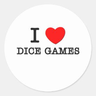 I Love Dice Games Round Sticker