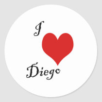 i love diego classic round sticker