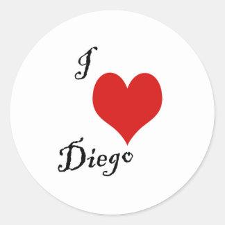 i love diego classic round sticker