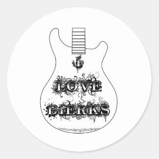 I Love Dierks (Guitar) Classic Round Sticker
