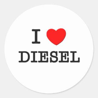 I Love Diesel Round Stickers