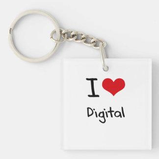 I Love Digital Single-Sided Square Acrylic Keychain