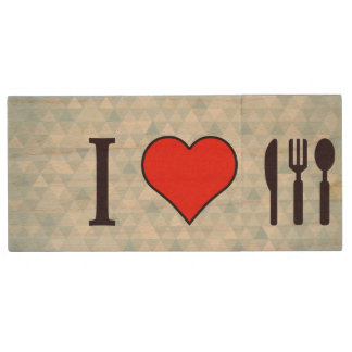 I Love Dining Out Wood USB Flash Drive