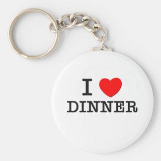 I Love Dinner Basic Round Button Keychain
