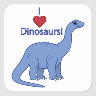 I Love Dinosaurs: Apatosaurus Square Sticker