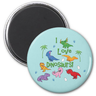I Love Dinosaurs! (Cute) 2 Inch Round Magnet