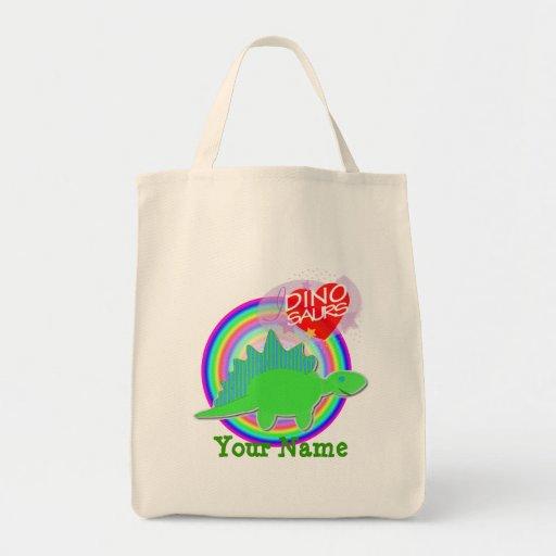 I love Dinosaurs Green Dino Your Name Bag