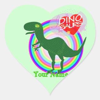 I love Dinosaurs Green T-Rex Dino Heart Stickers