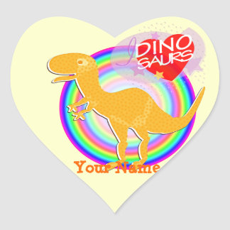 I love Dinosaurs Orange T-Rex Dino Heart Sticker