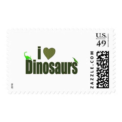 I Love Dinosaurs Postage Stamp