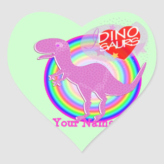 I love Dinosaurs Purple T-Rex Dino Heart Sticker