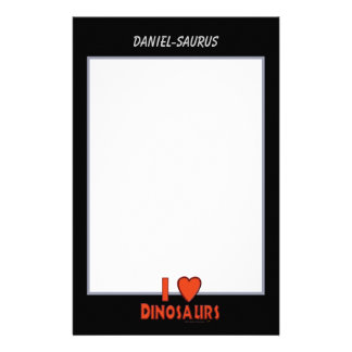 I Love Dinosaurs Red Black and White Custom Paper Stationery