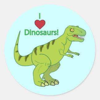 I Love Dinosaurs: T-Rex Classic Round Sticker