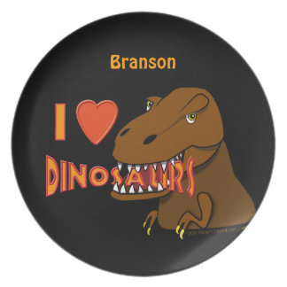 I Love Dinosaurs T Rex Custom Name Kids Plate