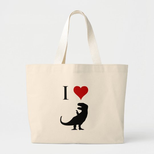 I Love Dinosaurs - T-Rex Large Tote Bag