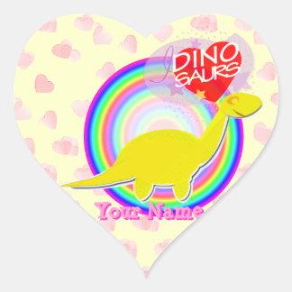 I love Dinosaurs Yellow Dinosaur Hearts Stickers