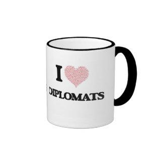 I love Diplomats (Heart made from words) Ringer Coffee Mug