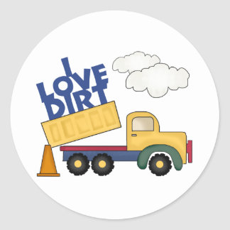 I Love Dirt Boys Gift Classic Round Sticker