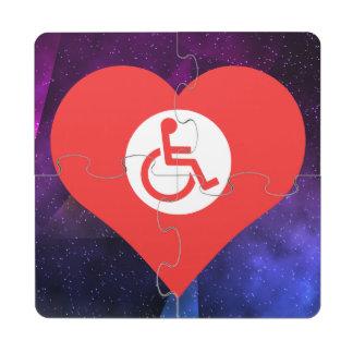 I Love Disabled Signage Puzzle Coaster