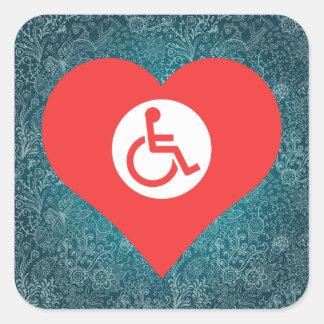 I Love Disabled Signage Square Sticker