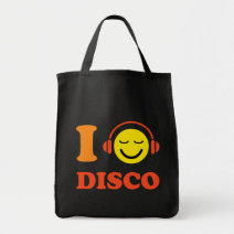 I love disco music smiley face with headphones bag