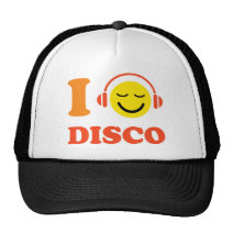 I love disco music smiley face with headphones cap