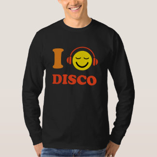 I love disco music smiley face with headphones tee