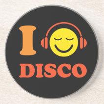 I love disco music smiley with headphones coaster