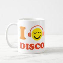 I love disco music smiley with headphones mug/cup