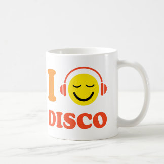 I love disco music smiley with headphones mug/cup coffee mug