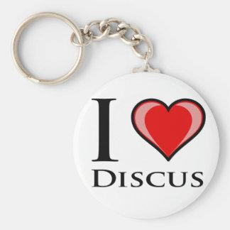 I Love Discus Basic Round Button Keychain