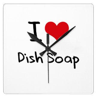 I Love Dish Soap Square Wall Clock