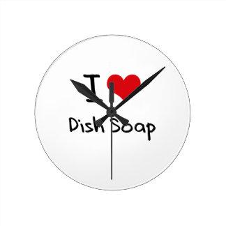 I Love Dish Soap Round Clock