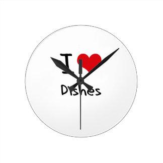 I Love Dishes Round Wallclocks