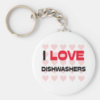 I LOVE DISHWASHERS BASIC ROUND BUTTON KEYCHAIN