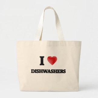 I love Dishwashers Large Tote Bag