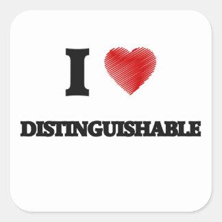 I love Distinguishable Square Sticker