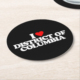 I LOVE DISTRICT OF COLUMBIA ROUND PAPER COASTER