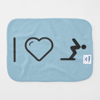 I Love Diver Positions Baby Burp Cloth