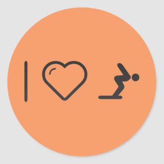 I Love Diver Positions Classic Round Sticker