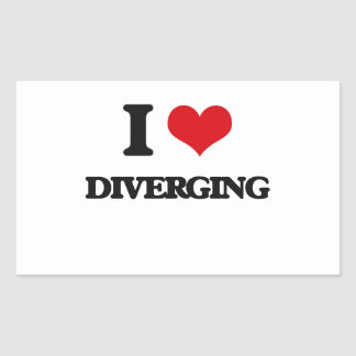 I love Diverging Rectangular Sticker
