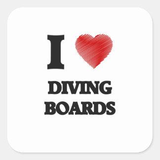 I love Diving Boards Square Sticker