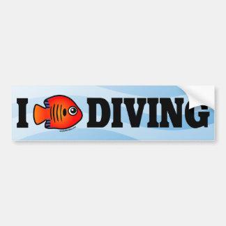 I Love Diving Car Bumper Sticker