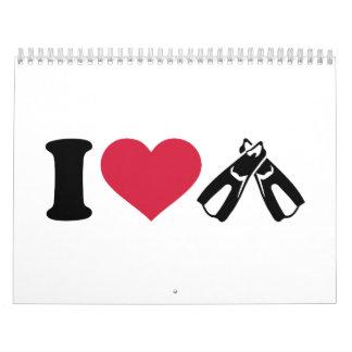 I love Diving fins Calendar