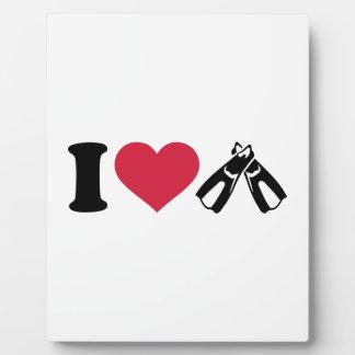 I love Diving fins Photo Plaques
