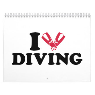 I love Diving flippers Calendar