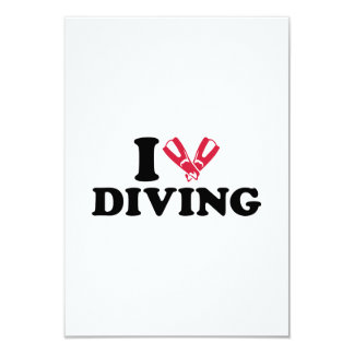 I love Diving flippers 3.5x5 Paper Invitation Card