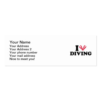 I love Diving flippers Mini Business Card