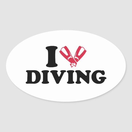 I love Diving flippers Stickers